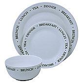Text Design 12 Piece, 4 Person Porcelain Dinner Set