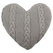 Cable Knit Heart Cushion - Grey