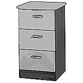 Welcome Furniture Mayfair 3 Drawer Bedside Table - White - Ebony - White