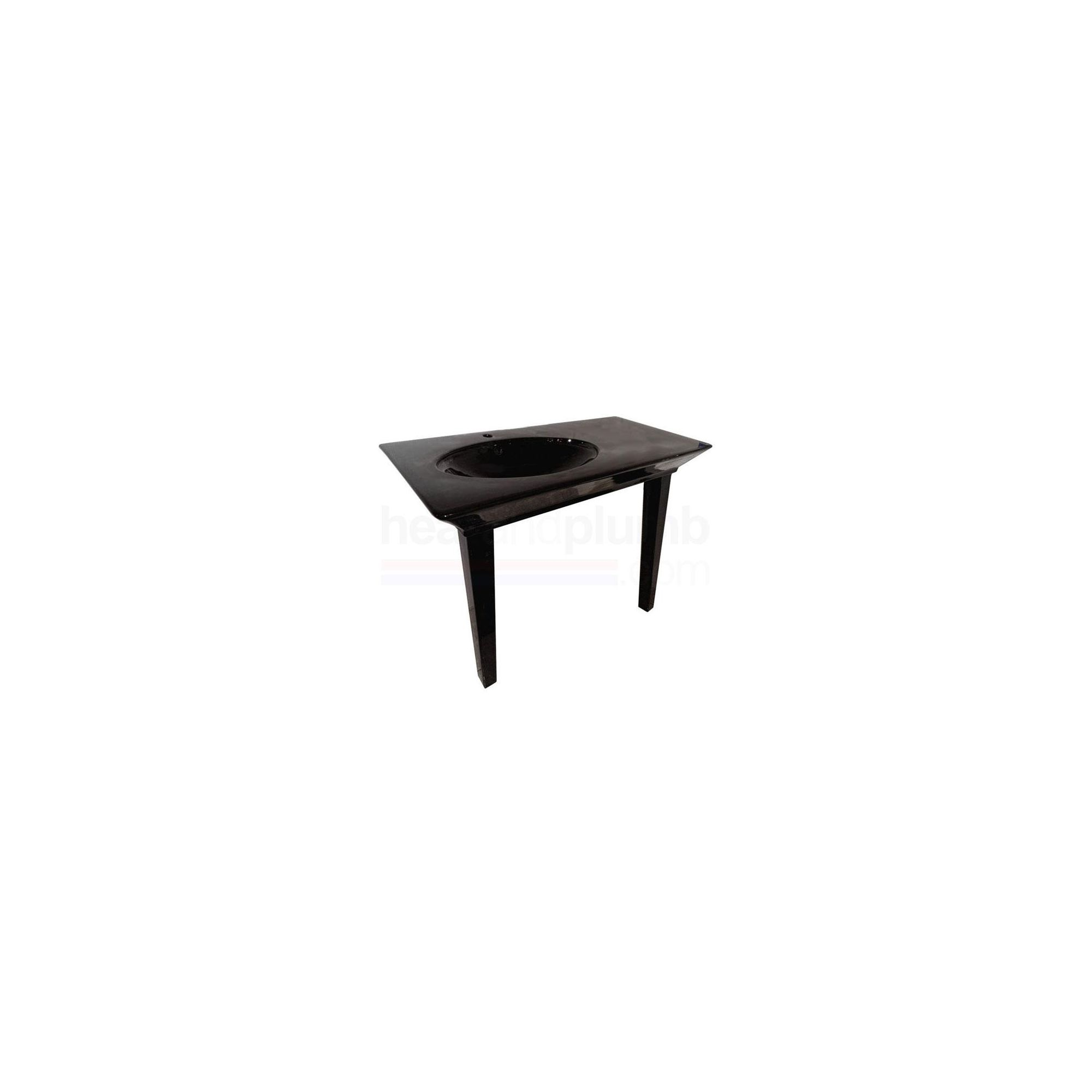 RAK Opulence Black 'Her' 1 Piece Countertop Basin with Legs 800mm Wide at Tesco Direct