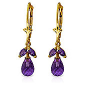 QP Jewellers 3.40ct Amethyst Galanthus Earrings in 14K Gold