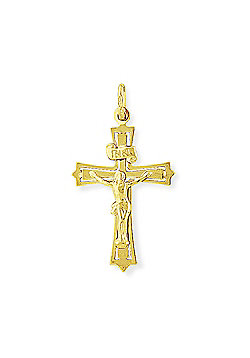 Jewelco London 9ct Yellow Gold - Crucifix with INRI Inscription Charm Pendant -