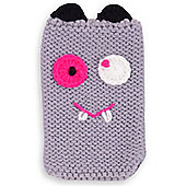Quirky Knitted Character Handy Phone Cover - Grey Monster