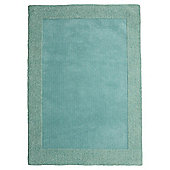 Tesco Tiered Border Wool Rug Soft Teal 150X240Cm