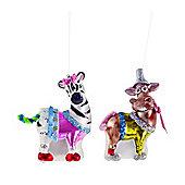 Colourful Donkey & Zebra Glass Christmas Ornament Set