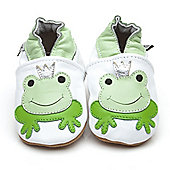 Olea London Soft Leather Baby Shoes Prince Frog - White