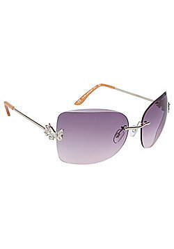 F&F Butterfly Detail Rimless Sunglasses
