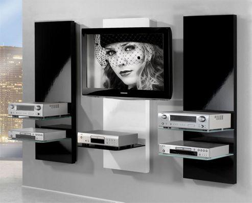 Triskom Three Panel TV Stand - Black Centre / White Sides