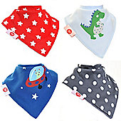 Zippy Boys Cool Bandana Dribble Bibs, 4 pack, one size