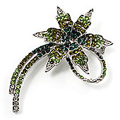 'Falling Star' Crystal Fashion Brooch (Olive & Green)