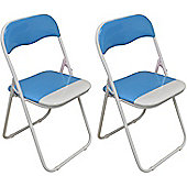 Harbour Housewares Baby Blue / White Padded, Folding, Desk Chair - Pack of 2