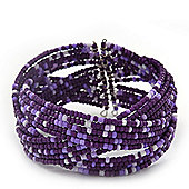 Boho Purple/ Lavender Grey Glass Bead Plaited Flex Cuff Bracelet - Adjustable