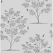 Trees and Birds Wallpaper - Stone and Silver - FD40550