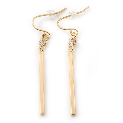 Gold Plated Crystal Bar Drop Earrings - 50mm Length