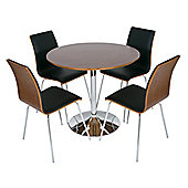 LEVV DTW-50BL/WAL Verona Walnut and Black Dining Set