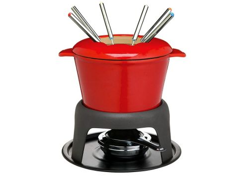 Kitchen Craft Master Class Cast Iron Enamelled Red Fondue Set