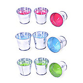Set of Three Bright Coloured Candles in Buckets Set Garden Lighting