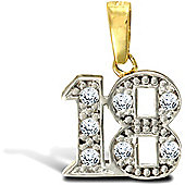 Jewelco London 9ct Solid Gold CZ set 18 Pendant,a perfect gift for that special milestone birthday!