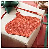 Tesco Red Glitter Christmas Gift Tags, 6 Pack
