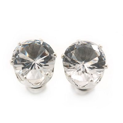 Classic Clear Crystal Round Cut Stud Earrings In Silver Plating - 8mm Diameter