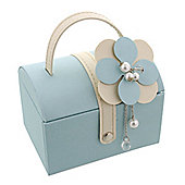 Cream and Teal Corsage Domed Jewellery Box
