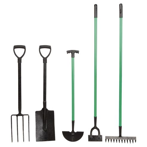 Tesco Value 5-piece Long Handled Garden Tool Set