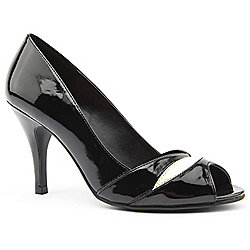 Emilio Luca X Red Ladies Elizabeth Black and Cream Peep Toe Heeled Shoes