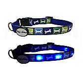 Dog E Glow Bone Led Collar Blue - Medium