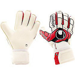 Uhlsport Ergonomic Absolutgrip Goalkeeper Gloves Size 7.5 White/Red/Black