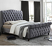 Happy Beds Colorado Grey Fabric Sleigh Bed Pocket Sprung Mattress 5ft King Size