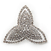 Rhodium Plated Swarovski Crystal 'Trefoil Dreams' Brooch - 5cm Diameter