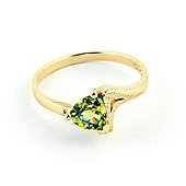 QP Jewellers 0.60ct Peridot Devotion Heart Ring in 14K Gold