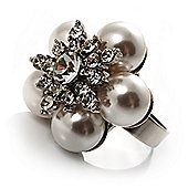 Snow White Faux Pearl Diamante Flower Ring (Silver Tone)
