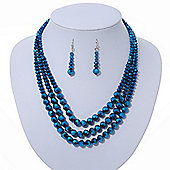 Chameleon Blue Multistrand Faceted Glass Crystal Necklace & Drop Earrings Set In Silver Plating - 44cm Length/ 6cm Extender
