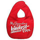 Dirty Fingers My Grandma is the Kindest Baby Bib Red