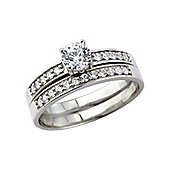 Sterling Silver with Platinum Overlay Cubic Zirconia Ring