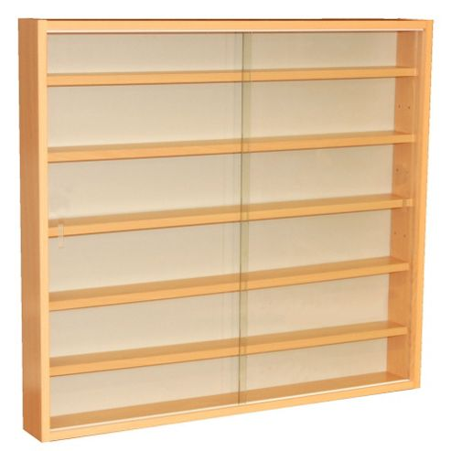 Techstyle 6 Shelf Glass Wall Display Unit - Beech
