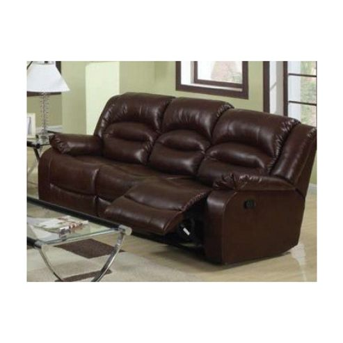 Sofa Source Novella Bonded Leather 3 Seater Reclining Sofa - Black