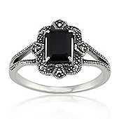 Gemondo Sterling Silver Art Deco 1.20ct Black Spinel & Marcasite Ring