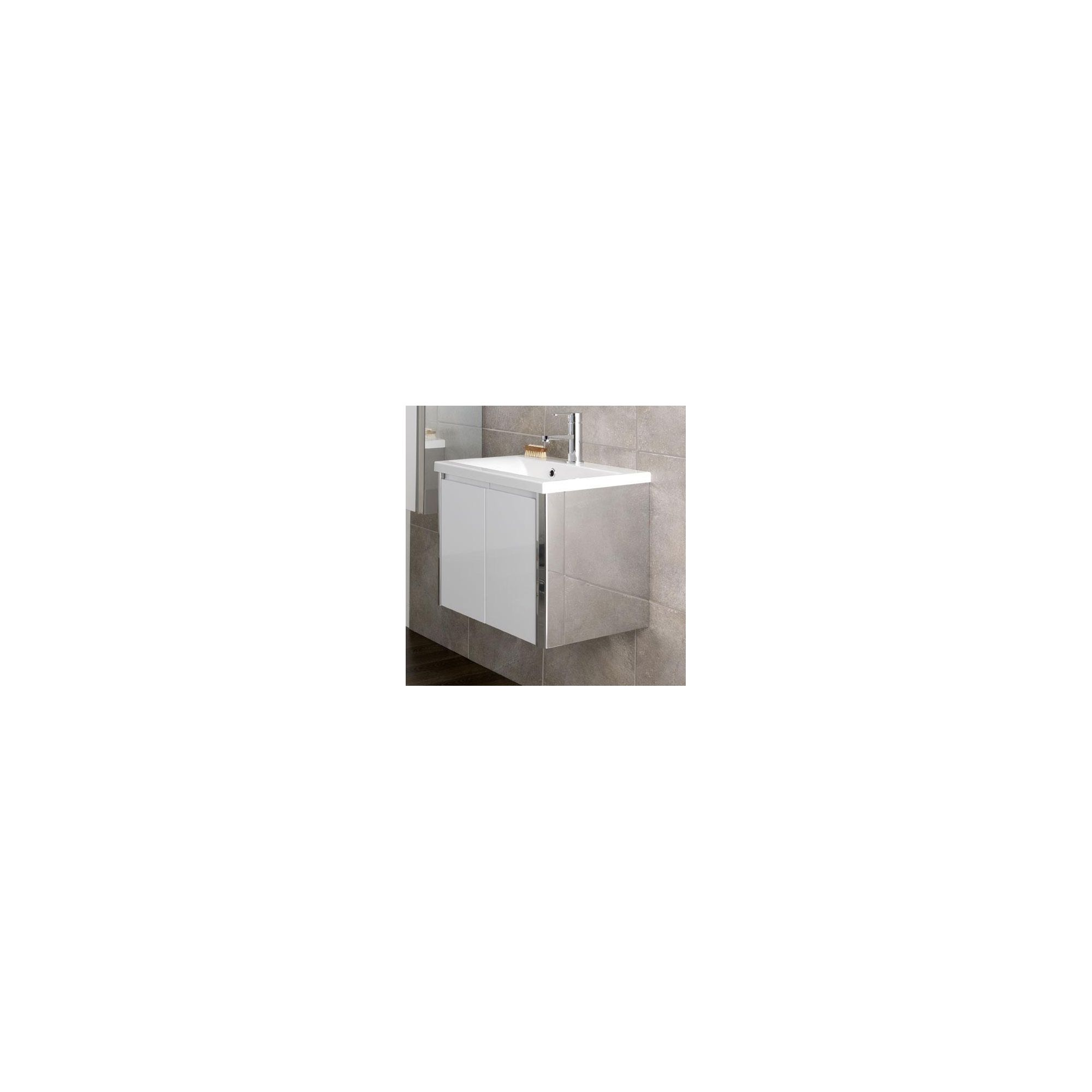 Duchy Trehane White Wall Hung 2 Door Vanity Unit and Basin - 580mm Wide x 390mm Deep
