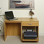 Enduro Home Office Desk / Workstation with Drawer and Printer Storage - Teak