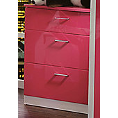 Welcome Furniture Mayfair 3 Drawer Deep Chest - White - Pink - Pink