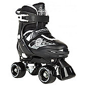 Rookie Kids' Adjustable Quad Skates - Pulse Black/White - Small (Junior UK 8 - Junior UK 11) - Black