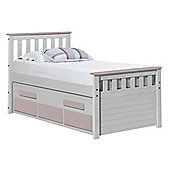 Captains Bergamo Guest Bed 3ft Whitewash With Pink Details