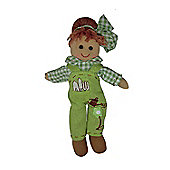Homescapes Poppy the Gardening Rag Doll in Green Dungarees