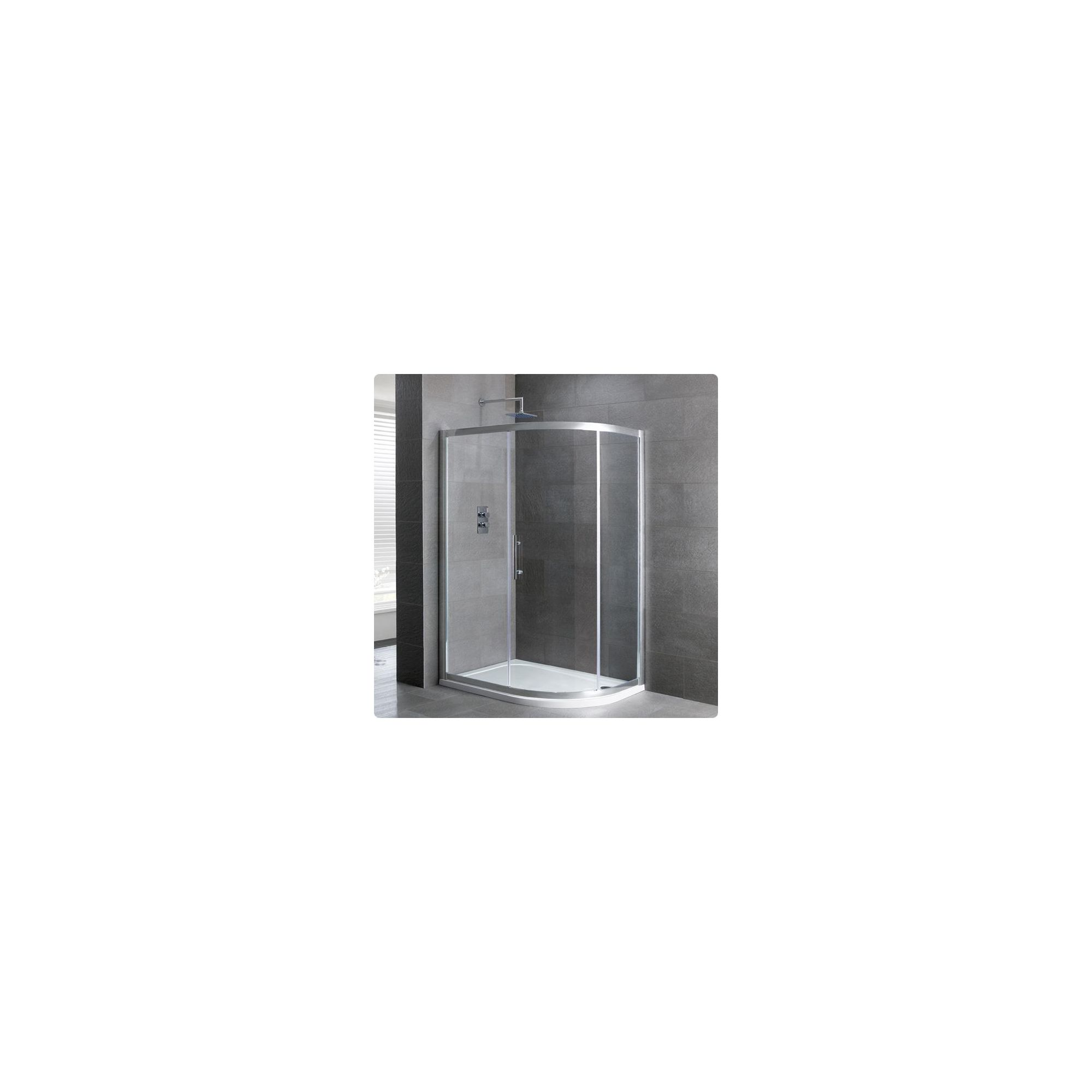 Duchy Select Silver 1 Door Offset Quadrant Shower Enclosure 1000mm x 900mm, Standard Tray, 6mm Glass at Tesco Direct