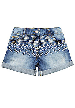 F&F Embroidered Denim Shorts - Blue