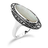 Gemondo 925 Sterling Silver Art Deco 1.3ct Shell Mother of Pearl & Marcasite Ring