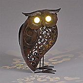 Garden Glows Solar Powered Bronze Owl Garden Light
