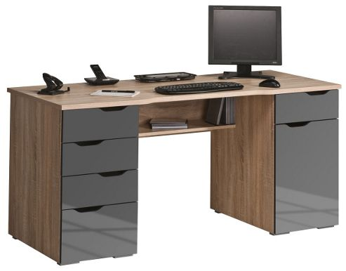Buy maja malborough oak and grey computer desk from our office desks tables range tesco - Tesco office desk ...